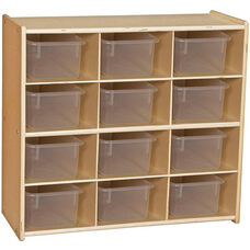 Contender Baltic Birch Storage Unit with 12 Clear Plastic Tubs - Unassembled - 30