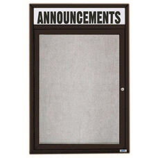 1 Door Outdoor Enclosed Bulletin Board with Header and Black Powder Coated Aluminum Frame - 36