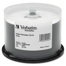 Verbatim 52X White Inkjet Printable Cd-R Spindle - Pack Of 50