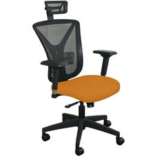 Fermata Executive Mesh Chair with Black Base and Headrest - Orange Fabric