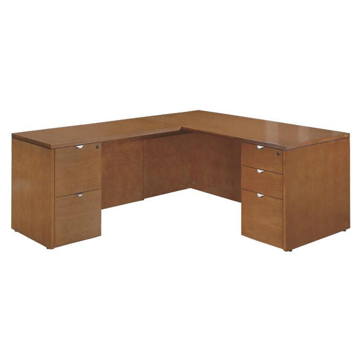 Our Osp Furniture Kenwood Hardwood Veneer 66 L Shaped Desk With Curved Metal