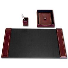 24kt Gold-Tooled Leather 3 Piece Desk Set - Burgundy