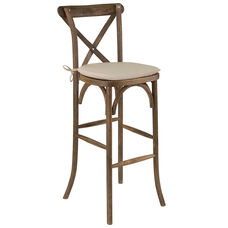 HERCULES Series Dark Antique Wood Cross Back Barstool with Cushion