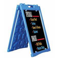 Universal Sidewalk A-Frame Sign Holder with Deluxe Black Markerboard - Blue - 27