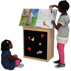 Natural Big Book Display and Storage with Locking Piano Hinged Top with Flannel on Front - Assembled - 24