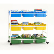 Leveled Reading Book Browser Cart with 9 Large Open Storage Tubs