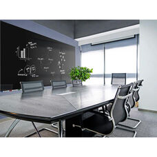 Aria Horizontal Glass Dry Erase Board with 4 Markers and Eraser - Black - 36