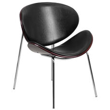 Mahogany Bentwood Leisure Side Reception Chair with Black Leather Seat