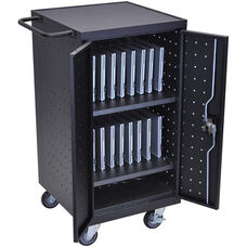 Locking Steel 18 Laptop/Chromebook Compact Charging Cart - Black - 25