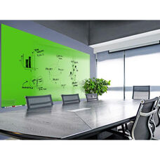 Aria Horizontal Magnetic Glass Dry Erase Board with 4 Markers, Eraser, and 4 Rare Earth Magnets - Green - 36