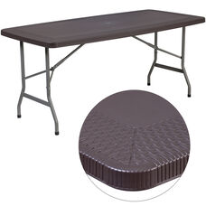 5.5-Foot Brown Rattan Plastic Folding Table