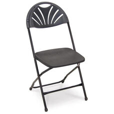 Series 5 Steel Frame Stackable Fanback Folding Chair with Polypropylene Seat and Back - Black