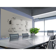 Aria Horizontal Glass Dry Erase Board with 4 Markers and Eraser - Gray - 36