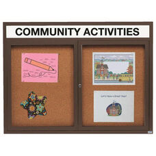 2 Door Indoor Illuminated Enclosed Bulletin Board with Header and Bronze Anodized Aluminum Frame - 48