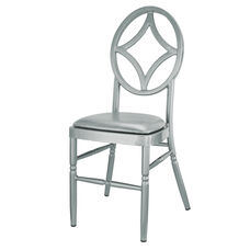 Velika Series Stackable Diamond Aluminum Dining Chair with Silver Vinyl Cushion - Silver