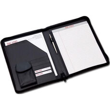 Deluxe Letter Size Zip Around Leather Portfolio - Black