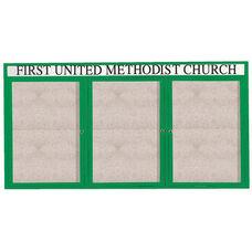 3 Door Outdoor Illuminated Enclosed Bulletin Board with Header and Green Powder Coated Aluminum Frame - 36