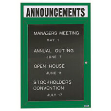 1 Door Outdoor Illuminated Enclosed Directory Board with Header and Green Anodized Aluminum Frame - 48