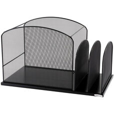 Onyx™ Hanging File with Two Upright sections Mesh Desk Organizer - Black