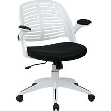 Ave Six Tyler White Frame and Mesh Fabric Seat Office Chair with Padded Armrests and Casters - Black