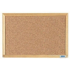 Economy Series Natural Pebble Grain Cork Bulletin Board with Wood Frame