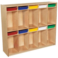 Wooden Ten Section Locker Unit with 10 Assorted Plastic Letter Trays - 58