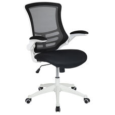 Mid-Back Black Mesh Swivel Ergonomic Task Office Chair with White Frame and Flip-Up Arms