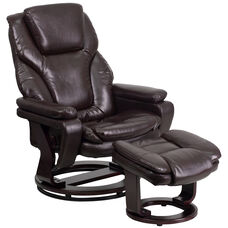Contemporary Multi-Position Recliner and Ottoman with Swivel Mahogany Wood Base in Brown Leather
