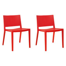 Elio Stackable Sturdy Red Plastic Chair - Set of 2