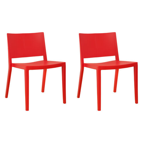 Our Elio Stackable Sturdy Red Plastic Chair - Set of 2 is on sale now.