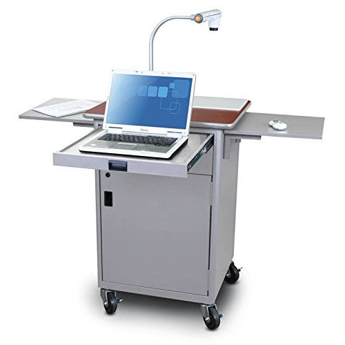 Our Vizion Teaching Presentation Cart with Locking Cabinet and Steel Doors - Silver Powdercoat Paint and Cherry Laminate is on sale now.