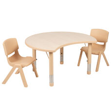 """25.125""""W x 35.5""""L Crescent Natural Plastic Height Adjustable Activity Table Set with 2 Chairs"""