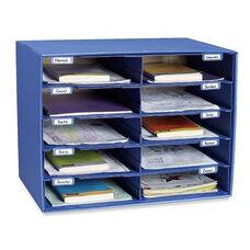 Pacon Mail Box - 10 Slots - 12 -1/2'' x 10'' x 3'' - Blue