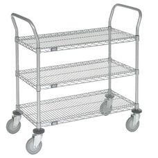 Chrome 3 Shelf Utility Cart-Polyurethane Caster - 18