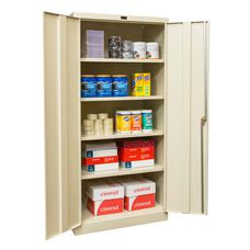 800 Series One Wide Single Tier Double Door Storage Cabinet - Unassembled - Parchment Finish - 36
