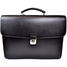 Kensington Double Gusset Briefcase with Suede Lining - Saffiano Genuine Leather - Black