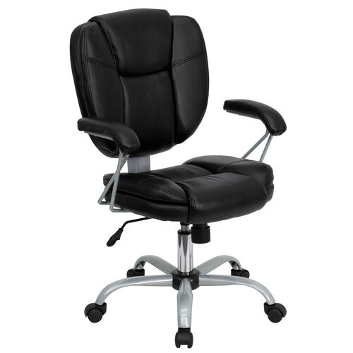 Our Mid-Back Black LeatherSoft Swivel Task Office Chair with Pillow Top Cushioning and Platinum Epoxy Base & Arms is on sale now.