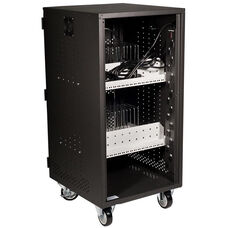 Black Mobile iPad/Chromebook Charging/Storage Cart with Lockable One Door Cabinet and 5