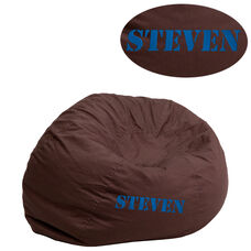 Personalized Small Solid Brown Bean Bag Chair for Kids and Teens