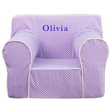 Personalized Oversized Lavender Dot Kids Chair with White Piping