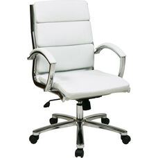Work Smart Mid Back Executive Faux Leather Chair with Polished Chrome Finish - White