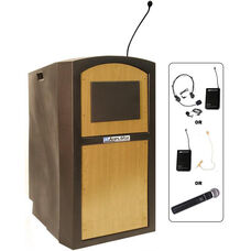 Pinnacle Wireless 150 Watt Sound and Microphone Full Height Lectern - Maple Finish - 26