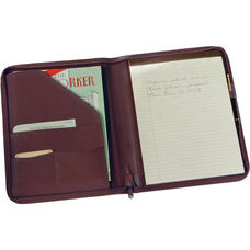 Zip Around Writing Padfolio - Top Grain Nappa Leather - Burgundy