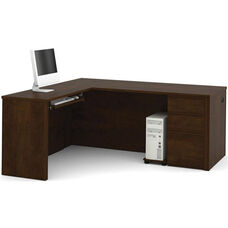 Prestige + L-Shaped Workstation Kit with Modesty Panel and Wire Management - Chocolate