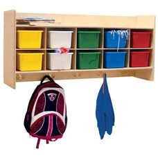 Wall Mountable Coat Locker & Cubby Storage Unit with 10 Assorted Color Trays - 46.75