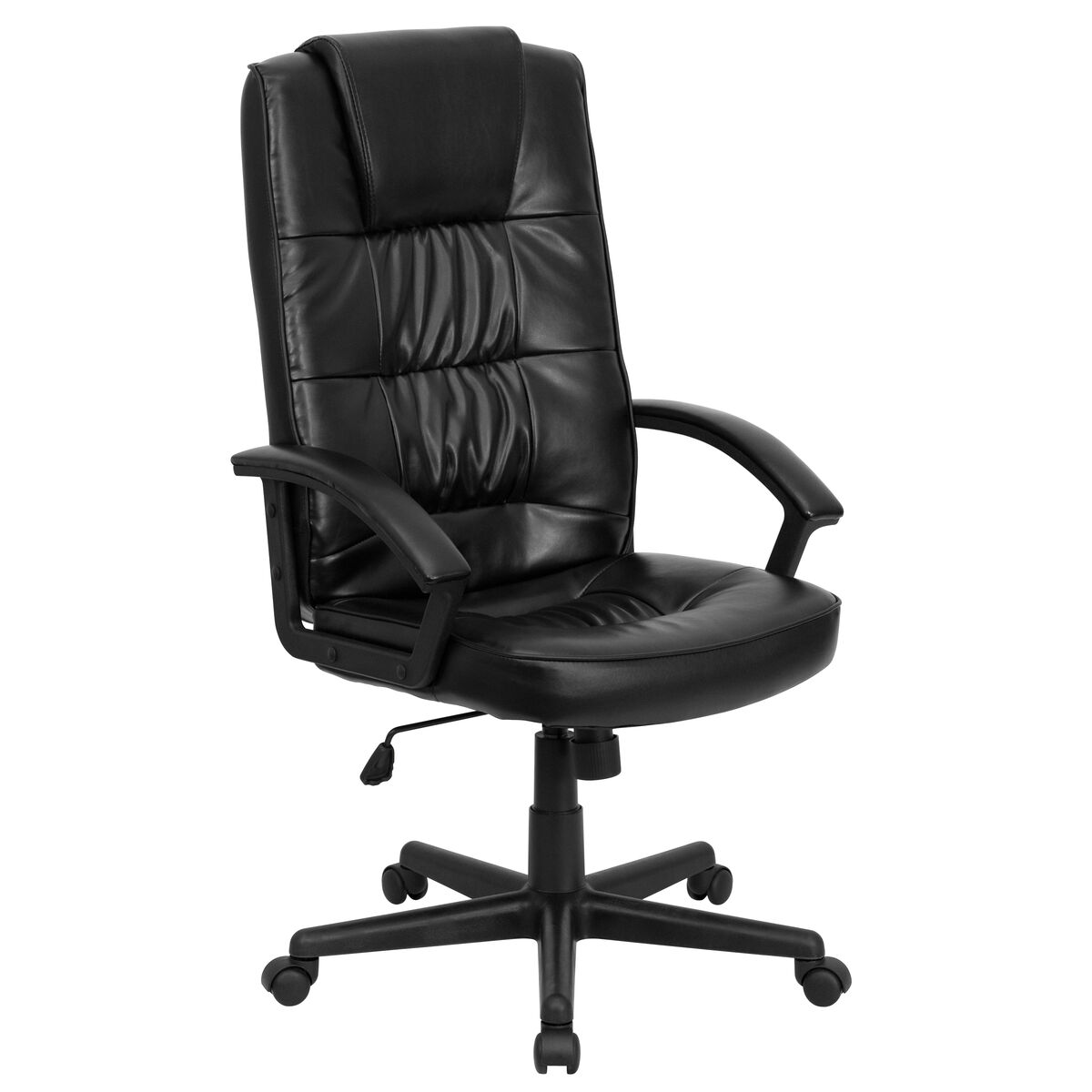 Black high back leather chair go 7102 gg for Furniture 4 schools