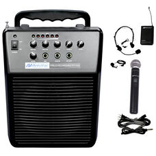 Mity-Vox Wireless 20 Watt Rechargeable PA with Wireless Handheld Microphone - 12