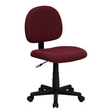 Mid-Back Burgundy Fabric Swivel Task Office Chair