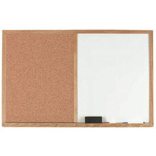 Wood Frame Combination Board with Natural Pebble Grain Cork Bulletin Board and Melamine Marker Board