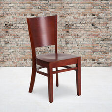 Mahogany Finished Solid Back Wooden Restaurant Chair